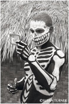 A Skeleton Double Checking His Face Paint